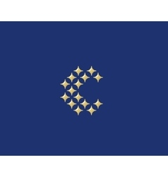 Stars letter C logotype Luxury abc icon vector image