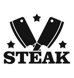 steak knife logo simple style vector image