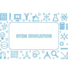 Stem blue horizontal frame science outline vector