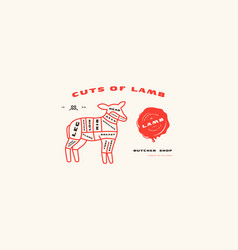 Stock lamb cuts diagram in thin line style vector