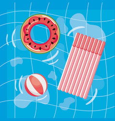 summer design with pool and float vector image