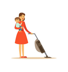 Super mom character with child vacuuming vector