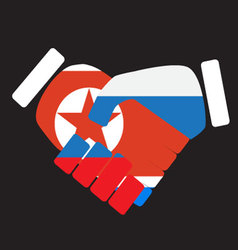 Symbol sign handshake North Korea and Russia vector image