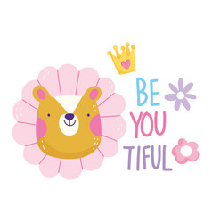 Tiger flower be you tiful cartoon cute text vector