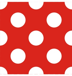 Tile pattern white polka dots red background vector image