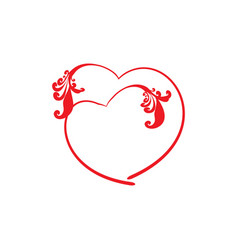 two red decoration heart on white background sign vector image