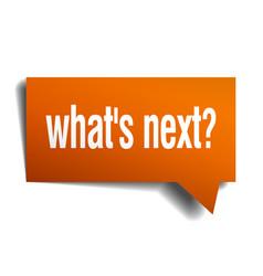 Whats next orange speech bubble isolated on white vector