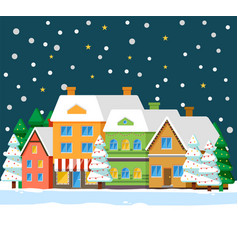 winter city at night snowfall and houses in row vector image