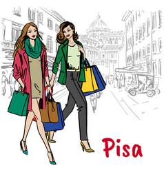 Women in pisa vector