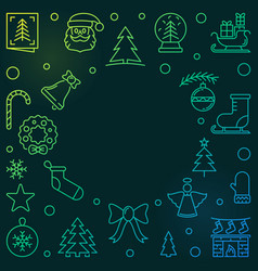 xmas or new year holiday colored linear vector image