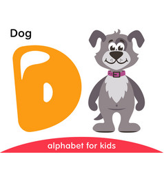 Yellow letter d and gray dog vector