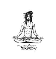 Yoga guru baba looking for inner peace hand draw vector