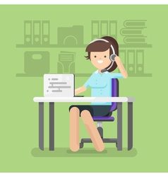Young beautiful woman working as a call center vector