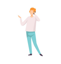 young man dressed in casual clothing talking on vector image
