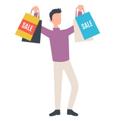 young man with shopping bags sale concept vector image