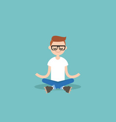 Young nerd meditating with closed eyes in lotus vector