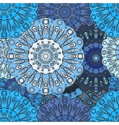 Blue colored seamless pattern with eastern floral vector image vector image