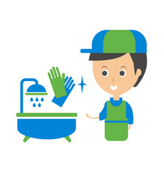 Cleanup service worker and clean bathroom tub vector