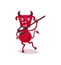 furious funny devil with horns and tail running vector image