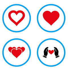 heart love rounded icons vector image vector image