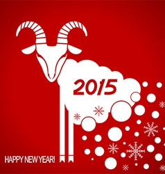 New year red card with goat vector image