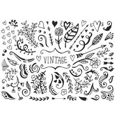 Set of vintage sketch elements vector image vector image