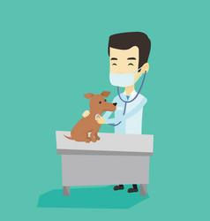 veterinarian examining dog vector image