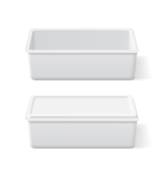 White plastic opened and closed container vector image