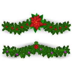 Christmas border decoration set vector image vector image