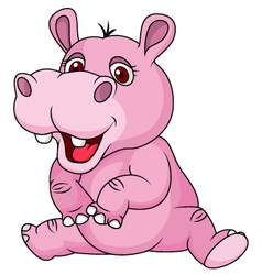 Cute hippo cartoon sitting vector image vector image