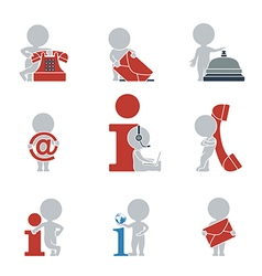 Flat people contacts and information vector