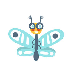 funny cartoon flying fly insect colorful vector image vector image