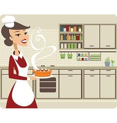 Girl baking pie vector image