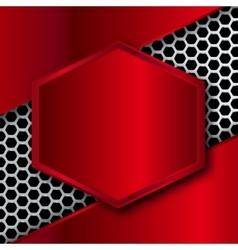 Hi-Tech Metallic Background with hexagonal frame vector image vector image