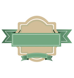 white emblem with green ribbon icon vector image
