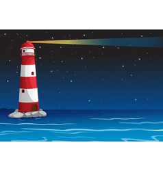 a light house in dark night vector image vector image
