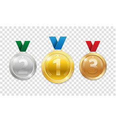 champion award medals for sport winner prize set vector image