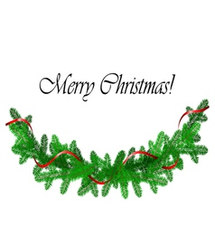 Christmas border with pine and red ribbon vector image