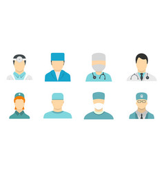 doctor avatar icon set flat style vector image