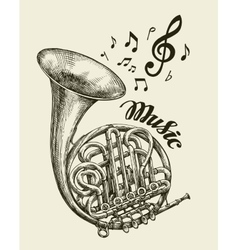 Hand-drawn musical french horn Sketch vintage vector image