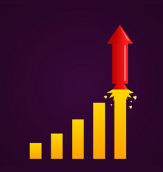 increasing graph with rocket vector image vector image