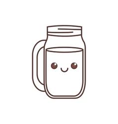 kawaii jar glass drinking liquid thin line vector image