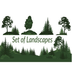 landscapes with trees silhouettes vector image vector image