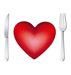 red heart with fork and knife icon vector image