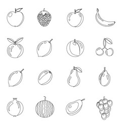 set of fruits in different style line black vector image vector image