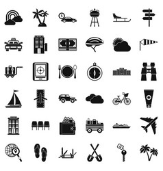 trip icons set simple style vector image