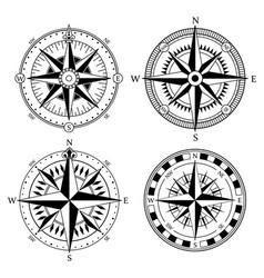 vintage nautical compass signs set retro vector image vector image