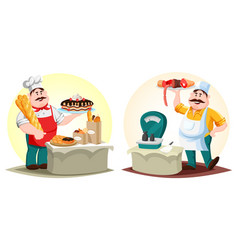 butcher with meat and baker with bun and bread vector image
