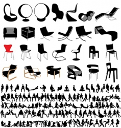 chairs and people collection vector image