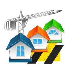 Construction and repair of houses with a crane vector